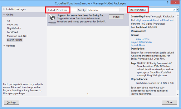 Code First Store Functions NuGet