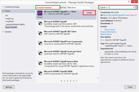 Installing SignalR C++ from NuGet